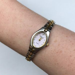 Vtg Adolfo two tone silver gold watch quartz Japan